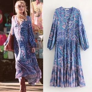 Maxi DRESS City Lights GOWN Purple Blue Floral